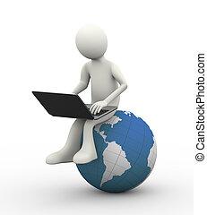 erdball, 3d, laptop, mann sitzen