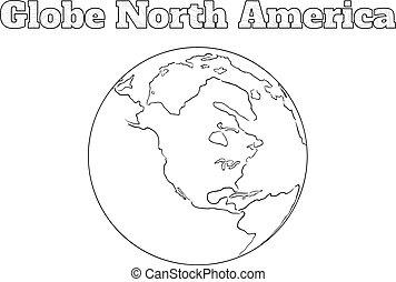 erdball, amerika, nord, ansicht