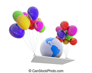 erdball, auf, farbe, luftballone