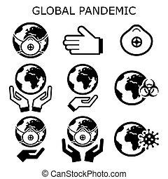 erdball, ausbreitung, schuetzen, heiligenbilder, satz, welt, virus, vektor, gefahr, pandemisch, begriff, global, epidemie
