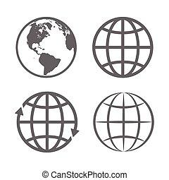 erdball, emblem., vektor, erde, template., logo, set., ikone