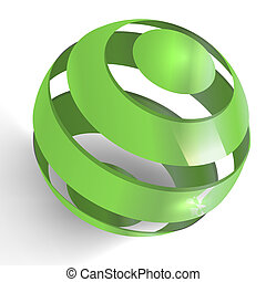 erdball, grün, 3d