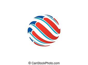 erdball, kugelförmig, vektor, wirbel, logo, technologie, abstrakt