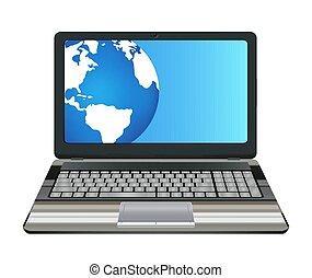 erdball, laptop-computer, hälfte, erde, schirm