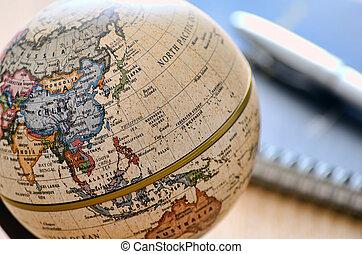 erdball, notebook)., asia, stift, (ballpoint, osten