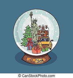 erdball, schnee, weihnachten, york, neu