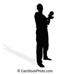 erdball, vektor, mann, hand