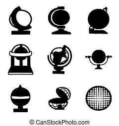 erdball, vektor, satz, ikone