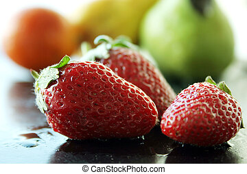 erdbeer, &, früchte