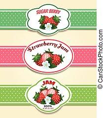 erdbeer, fruechte, etikett, satz