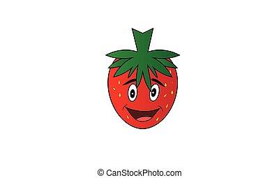 erdbeer, fruechte, karikatur