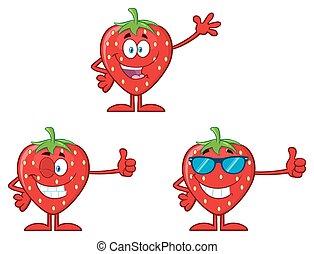 erdbeer, fruechte, karikatur, maskottchen, zeichen, reihe, satz, 1., sammlung
