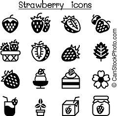 erdbeer, satz, ikone