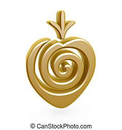 erdbeer, symbol, gold
