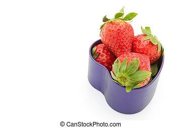 erdbeeren, in, a, herz- form, buechse