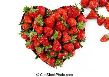 erdbeeren, in, a, herz- form