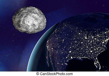 erde, asteroid, nähern