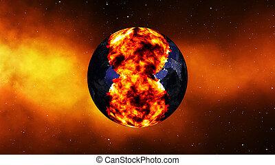 erde, explodieren, oder, brennender