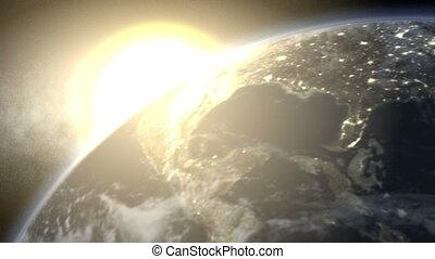 erde, hell, sonnenaufgang, (60fps)