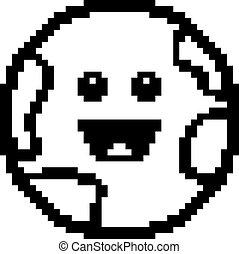 erde, lächeln, 8-bit, karikatur