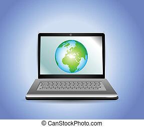erde, laptop, erdball