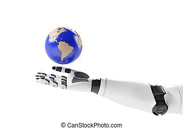 erde, roboter, hand