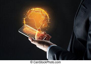erde, smartphone, hologramm, hand