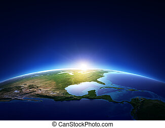erde, sonnenaufgang, aus, wolkenlos, nordamerika