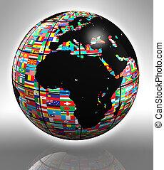 erdeglobus, afrikas, und, europa