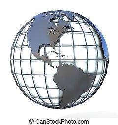 erdeglobus, amerika, ansicht