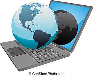 erdeglobus, auf, laptop, welt, edv