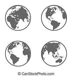 erdeglobus, emblem., ikone, set., vektor