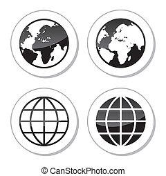 erdeglobus, etiketten, heiligenbilder