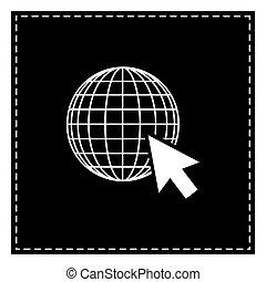 erdeglobus, mit, cursor., schwarz, fleck, weiß, hintergrund., isolat