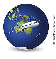 erdeglobus, motorflugzeug