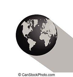 erdeglobus, schatten, langer