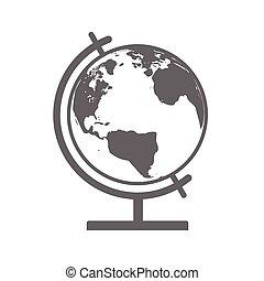 erdeglobus, vektor, emblem., ikone