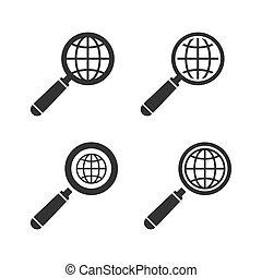 erdeglobus, vektor, emblem, set.