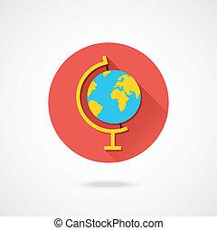 erdeglobus, vektor, ikone
