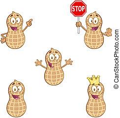 erdnüsse, glücklich, karikatur, charaktere