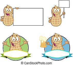 erdnüsse, karikatur, charaktere