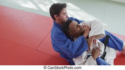 erdrosseln, matte, judoka, judo, seine, gegner