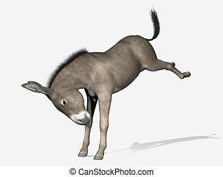 erección, burro, -, render, 3d