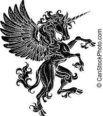 erección, caballo, pegasus, cresta, unicornio, alas, rampant