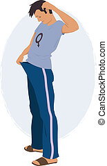 Upset man with a male symbol on his tee shirt looking down his pants, vector illustration