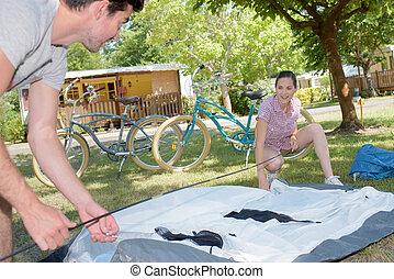 erecting the tent