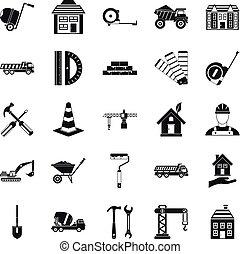 Erection icons set, simple style - Erection icons set....