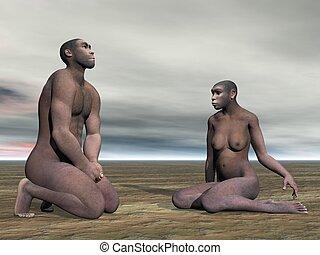 erectus, homo, couple-, render, 3d