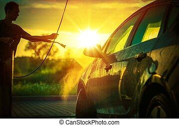 eredet, autó, mosás