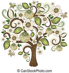 eredet, dekoratív, fa